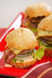 Fresh tasty burgers. On red plate stock photo
