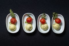 Fresh tasty canapes on table. Designer food. stock photo