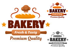 Fresh and Tasty cartoon bakery emblem Stock Photo