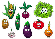 Fresh tasty cartoon vegetables characters Stock Photography