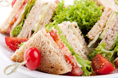 Fresh tasty club sandwich salad and toast Stock Images