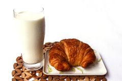 Fresh and tasty croissant and milk. With white background Royalty Free Stock Photos