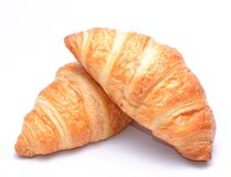 Fresh and tasty croissants on white background Stock Photography