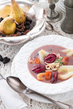 A fresh and tasty Czernina  is a Polish soup. Czernina  is a Polish soup made of duck blood and clear poultry broth. Sometimes known as duck soup Stock Photo