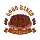 Fresh tasty dessert emblem. Chocolate cake icon Stock Photo