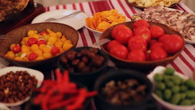 Fresh tasty dishes of traditional ukrainian food prepared for a dinner of few people. stock video footage