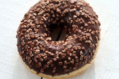 Fresh tasty donut with chocolate glaze Royalty Free Stock Images