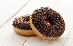 Fresh tasty donuts with chocolate glaze Stock Images