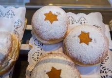 Fresh tasty donuts for Hanukkah celebration royalty free stock image