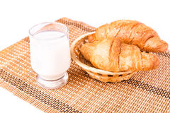 Fresh and tasty French croissants in a basket with glass of milk Stock Images