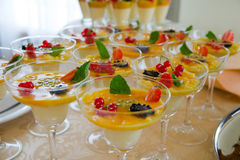 Fresh and tasty fruit dessert. Prepared for banquet Royalty Free Stock Photography