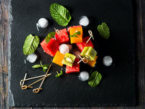 Fresh tasty fruit salad, view from above Stock Photo