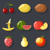 Fresh tasty fruit set apple cherry watermelon kiwi Royalty Free Stock Image