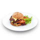 Fresh tasty hamburger. Isoltaed on white. Stock Image