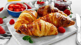 Fresh tasty homemade croissants with ripe berries and raspberries jam on white wooden board.  Royalty Free Stock Image