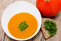 Fresh tasty homemade pumpkin soup Royalty Free Stock Photos