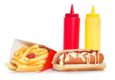 Fresh and tasty hot dog with fried potatoes Stock Images