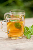 Fresh tasty hot tea lemon and mint outdoor in summer Royalty Free Stock Image