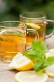 Fresh tasty hot tea lemon and mint outdoor in summer Stock Image