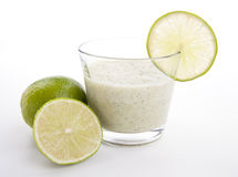 Fresh tasty lime citrus yoghurt shake dessert isolated Royalty Free Stock Photos