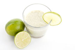 Fresh tasty lime citrus yoghurt shake dessert isolated Royalty Free Stock Images