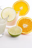 Fresh tasty lime and orange yoghurt shake cream  Stock Photography