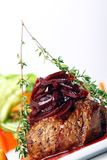 Fresh tasty meat with gourmet garnish. Restaurant fresh tasty meat with gourmet garnish Royalty Free Stock Photo