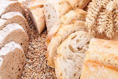 Fresh tasty mixed bread slice bakery loaf Stock Images