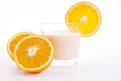 Fresh tasty orange yoghurt shake dessert isolated Royalty Free Stock Images