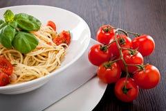 Fresh tasty pasta spaghetti with tomatoes and basil Royalty Free Stock Photo