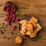 Fresh tasty pastries with raspberry jam stock image