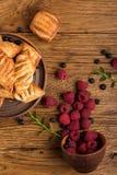 Fresh tasty pastries with raspberry jam royalty free stock image