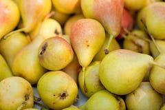 Fresh tasty pear fruit on market outdoor in summer Stock Photo