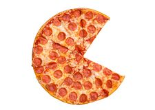 Fresh tasty pepperoni pizza without two slices isolated on white background. Top view royalty free stock photo