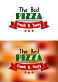 Fresh and tasty pizza label Stock Images