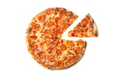 Fresh tasty pizza with pepperoni isolated on white background. Top view.  stock image