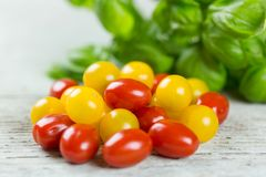 Fresh tasty red and yellow tomatoes. On wooden background Royalty Free Stock Photography