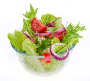 Fresh tasty salad over white Royalty Free Stock Photos