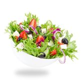 Fresh tasty salad over white Stock Photo