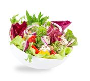 Fresh tasty salad over white Stock Photo
