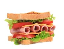 Fresh and tasty sandwich close up. Royalty Free Stock Photos