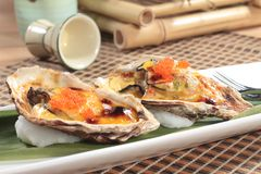 Fresh and tasty seafood cuisine. Seafood cuisine of shrimp, abalone, squid, mussel, oyster or scallop Stock Images