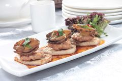 Fresh and tasty seafood cuisine. Seafood cuisine of shrimp, abalone, squid, mussel, oyster or scallop Stock Photo