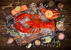 Fresh tasty seafood served on old wooden table. Royalty Free Stock Images