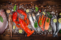 Fresh tasty seafood served on old wooden table. Stock Photos