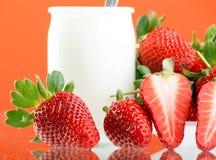 Fresh and tasty strawberries. And yogurt Stock Photo