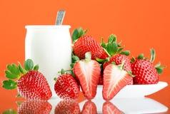 Fresh and tasty strawberries. And yogurt Stock Photos