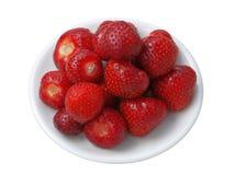 Fresh tasty strawberries on dessert plate Royalty Free Stock Images