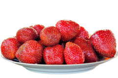 Fresh And Tasty Strawberries In Plate Stock Photos