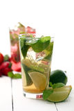 Fresh tasty strawberry and mint mojito Stock Images